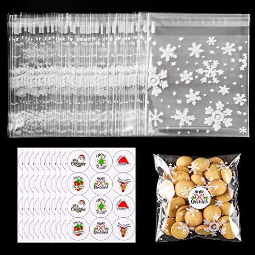 MELLIEX 100 Pezzi Sacchetti Regalo in Cellophane Natalizio, Sacchetti per Biscotti con Fiocchi di Neve Riutilizzabili Autoadesivi per Natale con Adesivi per Le Vacanze