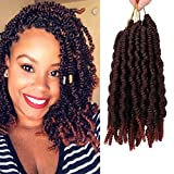 6 Pack Pre-twisted Spring Twist Crochet Braids 8 Inch Pre-looped Passion Twist Hair For Bob Spring Twists Short Curly Fluffy Twist Braiding Hair Extensions (15strands/pack, T350#)