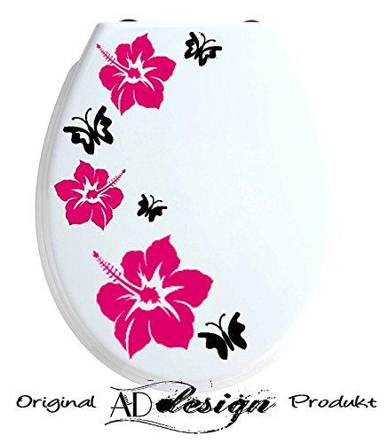 TREND DESIGN - Aufkleber für WC Toiletten Deckel ***Hibiskusblüten + Schmetterlinge*** (Farbauswahl)