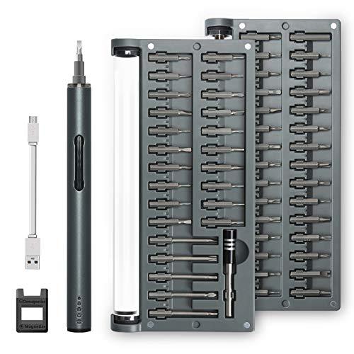 Elektrischer Schraubendreher,1byone feinmechaniker Screwdriver Werkzeugset 57 in 1 Schraubenzieher USB-Aufladung Elektronische Geräte Reparatur für Uhren/Geräte