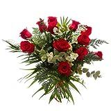 Ramo 12 rosas rojas - Ramo flores frescas - Flores naturales a domicilio - Entrega 24h con tarjeta dedicatoria incluida