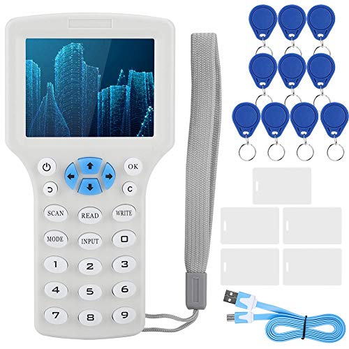 VBESTLIFEEnglisch RFID Kopierer NFC Kartenleser Writer Duplicator 10 Frequenzprogrammierer+125 kHz /13,56 MHz Beschreibbare Schlüsselkarten die -Karten 1386/1326/1346,T5577,EM4305,Mifare UID.