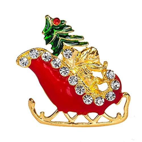 LIGHTBLUE Rhinestone Christmas Sled Brooch Pin Xmas Decorations Ornaments Charm Brooch Pin Women Jewellery Gift