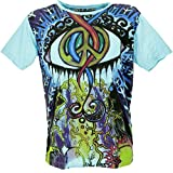 GURU SHOP Mirror - Camiseta de algodón para hombre Peace Light Blue M