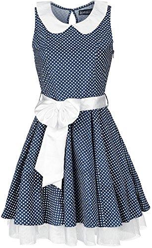 Rockabella Felicia Jurk blauw-wit XL