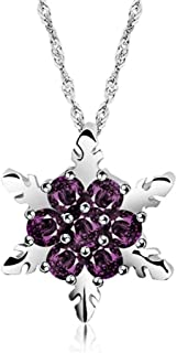 BAILIANHUA Ladies Blue Crystal Snowflake Zircon Flower Silver Necklace And Pendant Jewelry Gift