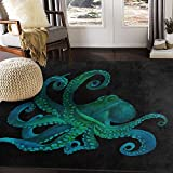 ALAZA Watercolor Octopus Abstract Black Area Rug Rugs for Living Room Bedroom 7' x 5'
