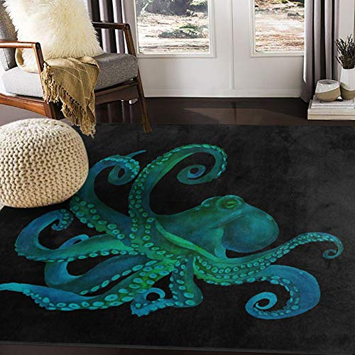 ALAZA Watercolor Octopus Abstract Black Area Rug Rugs for Living Room Bedroom 5'3'x4'