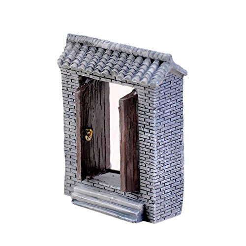 Cupcinu miniatura Micro Paesaggio Terrario accessorio resina porta in mattoncini blu stile cinese DIY assetto ornamento decorazione giardino cortile Acquario Casa di bambola 2x 4x 5cm