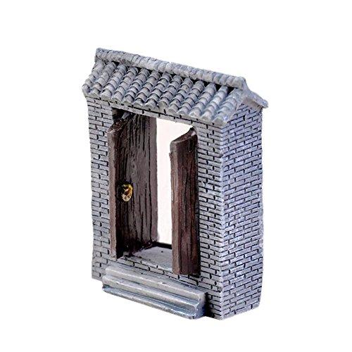 Outflower Décoration de jardin miniature rétro en pierre pour porte de cour - Mini pot de fleurs - Accessoire en résine - Décoration d'intérieur et de jardin - Dimensions : 2 x 4 x 5 cm