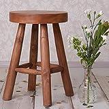Sgabello in legno di teak Sgabello rotondo alto 45 cm Sgabello da seduta Sgabello di legno Sgabello di legno Sgabello vegetale Tavolino laterale in teak Sgabello a fiori Sgabello in legno massiccio