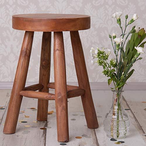 Hocker Holz Rund 45cm Sitzhocker Massiv Holzhocker Teak-Holz Möbel Beistelltisch Massivholz Blumenhocker Couchtish Rustikal Pflanzenhocker Deko Badhocker Badezimmer Wohnzimmer Schemel Natur