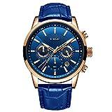 LIGE Watches for Men Male Fashion Luxury Business Analog Quartz Chronograph Watch Man Waterproof Casual Blue Men Wrist Watch with Blue Leather Elegant Gents Dress Calendar Watches