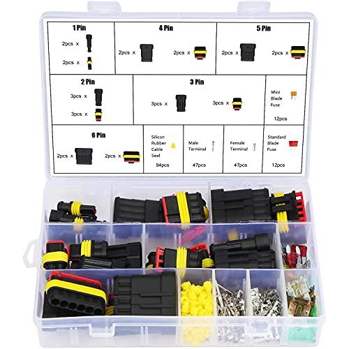 BIGP 240 Piezas conectores de cable eléctrico impermeable para coche, con fusibles de cuchilla automotriz para motocicleta, scooter, coche, camión, barcos, 1/2/3/4/5/6 pines