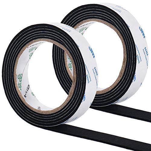 ギノヤ 2巻入りキズ防止テープ, 2.2cmx200cm 家具保護パッド キズ防止・防音 (ブラック)