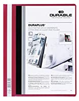 Durable 2579a4Duraplusフォルダwith Red Back andクリア前面カバー、ボックスof 25