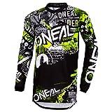 O'NEAL | Motocross-Shirt Langarm | Kinder | MX MTB Mountainbike | Passform für Maximale Bewegungsfreiheit, Eingenähter Ellbogenschutz | Element Youth Jersey Attack | Schwarz Neon-Gelb | Größe S