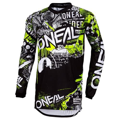 O'NEAL | Motocross-Shirt Langarm | Kinder | MX MTB Mountainbike | Passform für Maximale Bewegungsfreiheit, Eingenähter Ellbogenschutz | Element Youth Jersey Attack | Schwarz Neon-Gelb | Größe XL