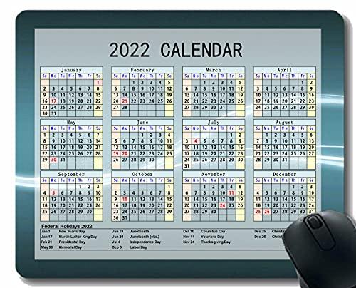 Gaming Mouse Pad 2022 año Calendario con Vacaciones, Línea Luz Mousepad de Goma Antideslizante Vertical con Bordes cosidos duraderos