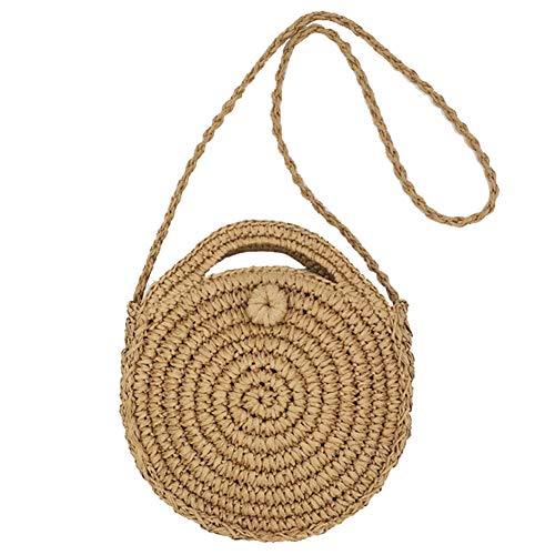 SHUIBIAN Runde Stroh Strandtasche Sommer Vintage Handarbeit Umhängetasche Kreis Rattan Tasche böhmische Umhängetasche für Frauen (Braun+1)