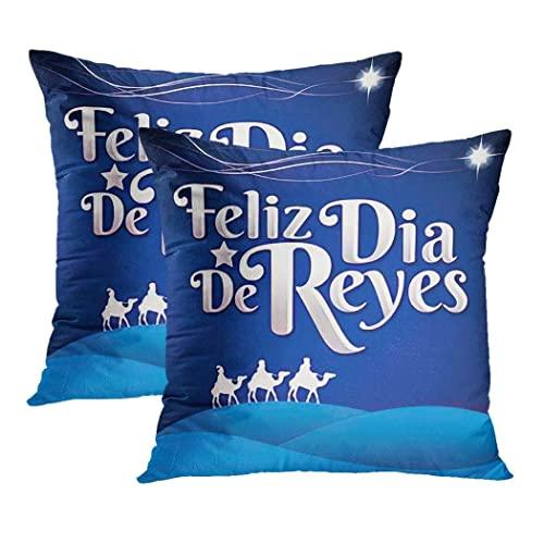LINGF Funda de Almohada Día de los Reyes Magos Juego de 2 Fundas de Almohada Espacio de Copia Rosca De Reyes Mexicana Cojín Funda de Almohada