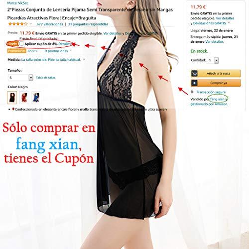 2*Piezas Conjunto de Lencería Pijama Semi Transparente de Verano sin Mangas Picardías Atractivas Floral Encaje+Braguita