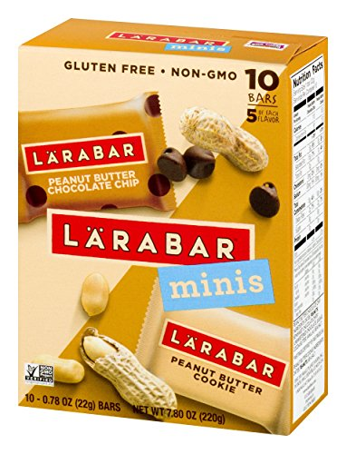 Larabar Minis Gluten Free Bars Peanut Butter Chocolate Chip/Peanut Butter Cookie 78 oz Bars 10 Count Vegan Dairy Free Gluten Free Snacks