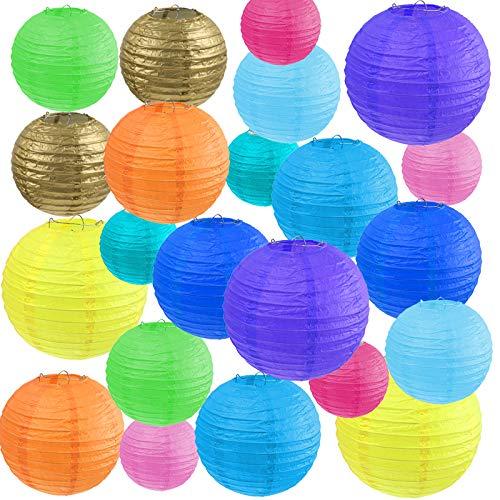 "Vastar 22 Pcs Paper Lanterns - Paper Lanterns Decorative, 4"", 6"", 8"", 10"" Color Paper Lanterns (Multi-Colored)"