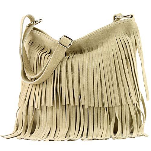 modamoda de - ital bandolera con flecos de gamuza T125, Color:colores de arena