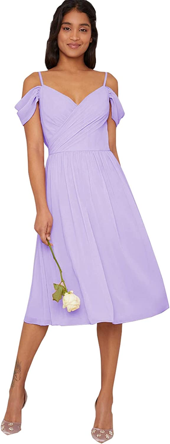 Yilis Off The Shoulder Junior Bridesmaid Dresses Short for Women A-line Chiffon Formal Prom Party Gowns