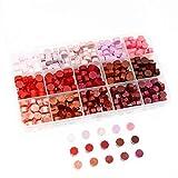 BITEYI Cera de Sellado Octagonal para Sello de cera y decoración de invitación de boda vintage,15 colores,375 piezas (Rojo)