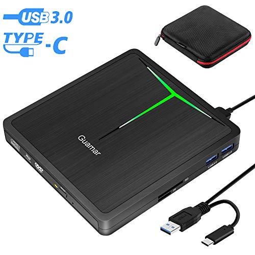 External DVD Drive Guamar 5 in 1 USB 3.0 USB C CD/DVD +/- RW Burner Writer Player Portable Optical Drive for Laptop/MacBook/Desktop/Windows/PC Support SD/TF Card Reader/USB 3.0 Transfers (Black)
