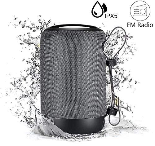 Tragbarer Outdoor Lautsprecher Bluetooth 5.0 Klein Radio Musikbox mit TWS/Stereo/IPX6 Wasserdicht/12 St-Laufzeit für USB/TF/Aux/FM/SD-Karte für Party Zuhause Strand Reisen von VENNERLI (Grau)…