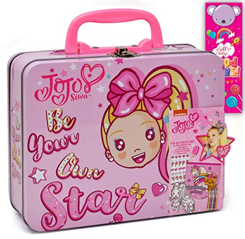 Jojo Siwa Coloring and Activity Tin Box, Includes Markers, Stickers, Mess Free Crafts Color Kit in Tin Box, for Toddlers, Boys and Kids, Gift Boutique Bookmark Included