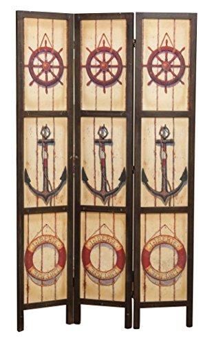 Biscottini Separé 'Mare' in Legno con Decorazione Vintage bifacciale L106XPR2XH180 cm