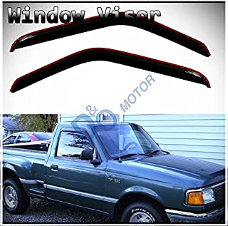 D&O MOTOR 2pcs in-Channel Front Doors Smoke Sun/Rain Guard Wind Deflector Tape-On Window Visors for 93-11 Ford Ranger 94-10 Mazda B2300/B2500/B3000/B4000 Regular & Extended Cab
