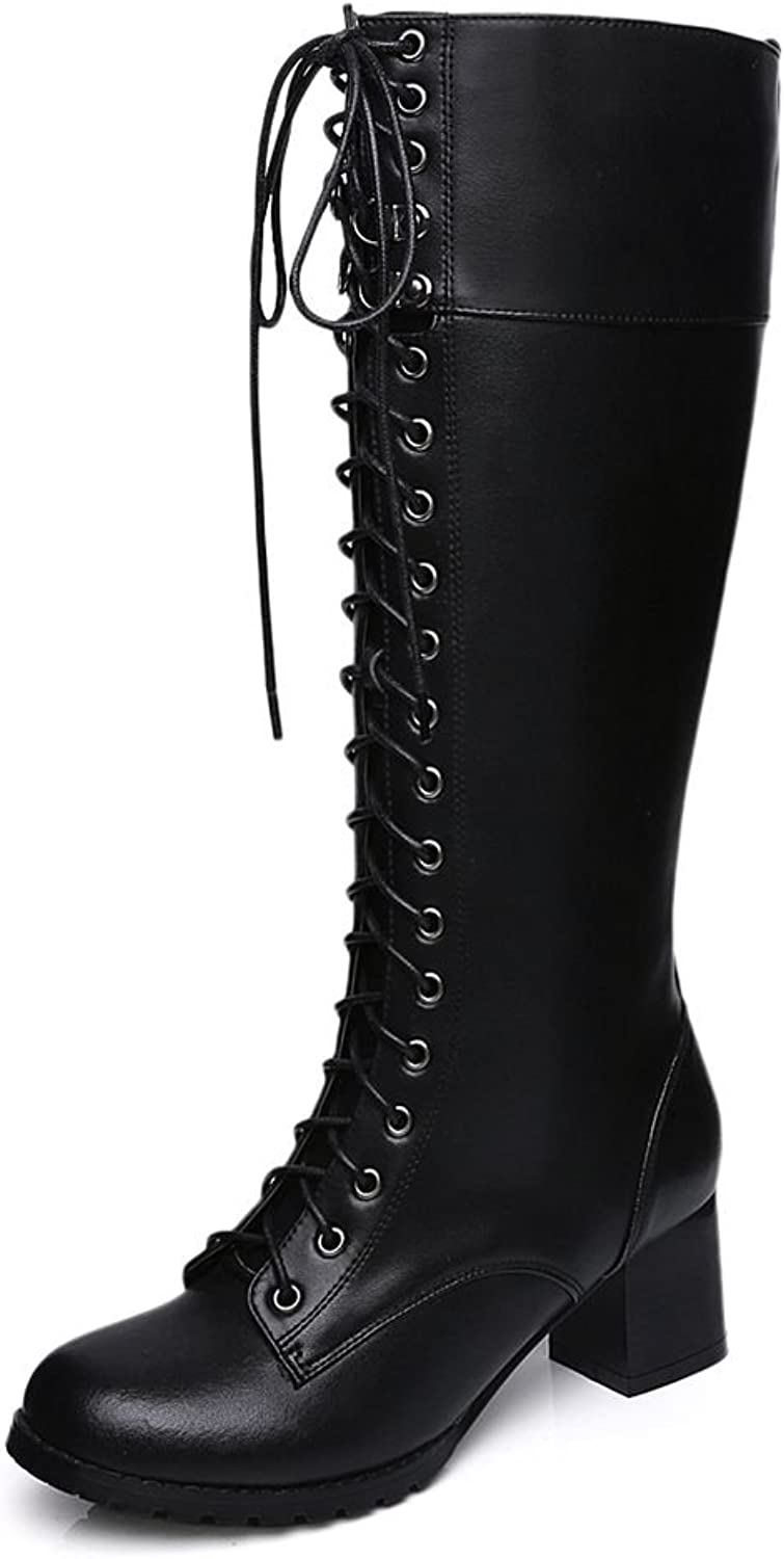 Kaloosh Fashion Knee high Combat Boots for Women Side Zipper Combat Boots