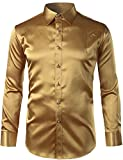 ZEROYAA Mens Regular Fit Long Sleeve Shiny Satin Silk Like Dance Prom Dress Shirt Tops Z6 Gold X Large