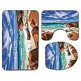 Alfombra de baño antideslizante de 3 piezas Juego de tapa de asiento de inodoro Estera de baño antideslizante tropical exótica Costa rocosa exótica con olas Isla de Seychelles Paisaje de playa paradis