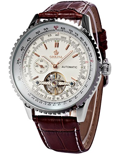 ORKINA ORK166 Herren-Armbanduhr Lederarmband Braun