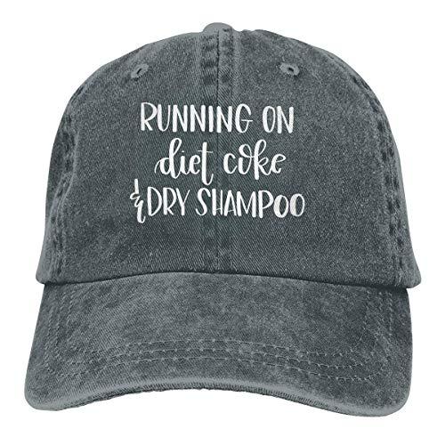 Nigmfgvnr Running On Diet Coke and Dry Shampoo Denim Hats Washed Retro Baseball Cap Dad Hat