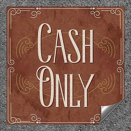 CGSignLab Cash Only Victorian Card Heavy-Duty Industrial Self-Adhesive Aluminum Wall Decal 96x48