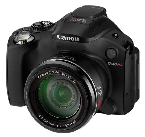 Canon PowerShot SX40 HS Digitalkamera (12 MP, 35-fach opt. Zoom, 6,9cm (2,7 Zoll) Display, bildstabilisiert) schwarz