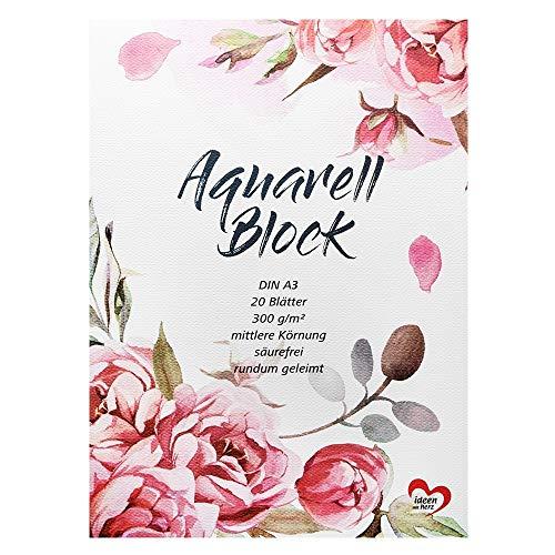Ideen mit Herz Aquarell-Block | Aquarellpapier | Zeichenblock | Malblock | 20 Blatt | Dickes Papier | 300 g/m² (DIN A3)