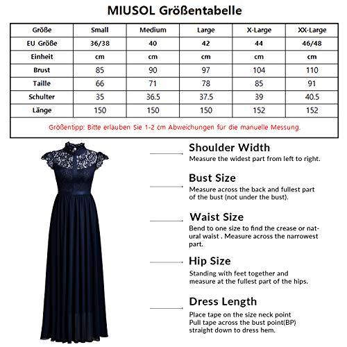 Miusol Damen Elegant Spitzen Abendkleid Brautjungfer Cocktailkleid Chiffon Faltenrock Langes Kleid Schwarz Gr.M - 6