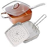 4pc Copper Pan Set: Steamer, Deep Frying Basket & Glass Lid - Oven