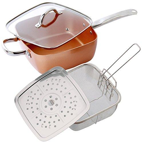 Juego de 4 sartenes de cobre: vaporizador, cesta de freír profunda y tapa de cristal, apto para horno, apto para cocinas de inducción.