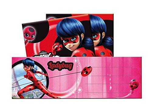 Cono 12-teiliges Einladungskarten-Set * Miraculous Ladybug * für eine Mottoparty oder Kindergeburtstag Marienkäfer Superheld Party Geburtstag Einladung Invites