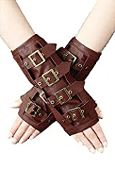 Sleeves are decorated with four adjustable straps with metal buckles. One size fits all. Price is for pair of sleeves (on left and right hand). Lenght 21 cm the widest circumference 20cm Great accessory for gothic and steampunk lovers