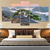 13Tdfc Cuadros Decor Salon Modernos 5 Piezas Lienzo Grandes XXL Murales Pared Hogar Pasillo Decor Arte Pared Abstracto Paisaje Bonsai Tree HD Impresión Foto 150X80Cm Regalo